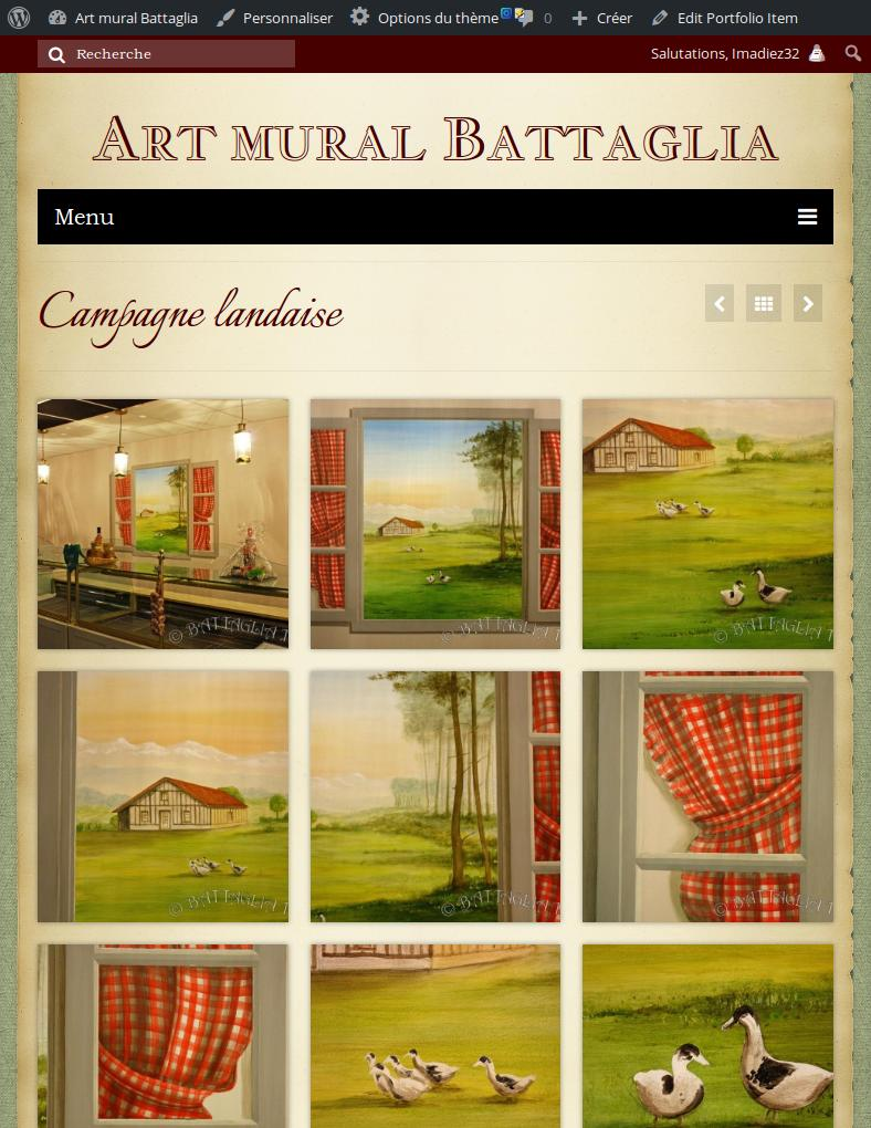 Capture de la version mobile du site Art mural battaglia
