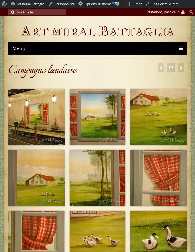 Capture de la version mobile du site Art mural battaglia